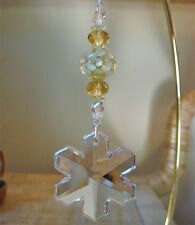 =^.^= Snowflake Ornament made with 35mm Swarovski Crystal #8811/6704 Logo 14A
