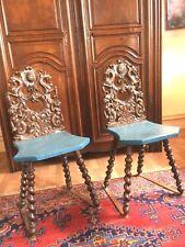 paire chaise escabelle renaissance en bois