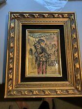 New ListingJudaica Sarinson Hand Colored Acrylic Engraving Bar Mitzvah Boy w/Torah Framed