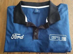GT Ford Mustang/Falcon Dark Blue Polyester Mens Short Sleeve Polo Shirt size 3XL