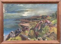 Oil Painting Rocky Coast Baltic Sea Bornholm Monogrammed 1938 Dated 55 x 76