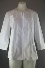 Womens size S Small Noni B lightweight zip up cotton jacket white grey exc cond