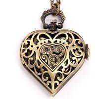 Vintage Bronze Color Hollow Out Heart Shape Pendant Necklace Pocket Watch Quartz