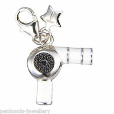 Tingle Sterling Silver Hairdryer clip on Charm with Gift Box and Bag SCH138