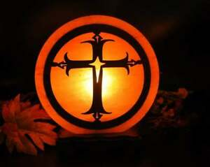 Himalayan Salt Lamp With Cross Sign Engraved On Wood Sheet, Dimmer Switch