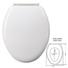 NEW WHITE COLOUR TOILET SEAT LID SOFT OPEN CLOSE EASY CLEAN HINGED BATHROOM WC