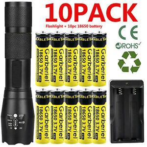 Zoom T6 LED Flashlight + Li-ion Battery Rechargeable Batteries +US Dual Charger