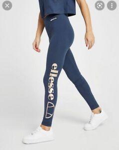 Ellesse Metallic Logo Navy Blue Leggings Size 10
