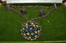 Vintage Hobe Necklace & Earrings Set Blue/Green Crowns In Original Box NICE!
