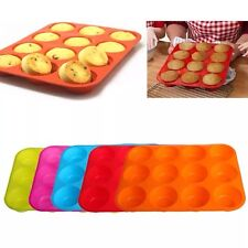 Silicone Nonstick 12 Cups Pan Muffin Cupcake Tray Baking Cake Mold New