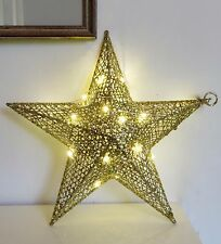 decoration Xmas 3 d Gold wire Star 33 cm (20 micro LED lights) INDOOR/OUTDOOR,