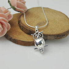 925 Sterling Silver Plated Fashion Women Owl Pendant Necklace Charm Jewelry Gift