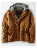 NWT American Eagle AE Men's Wax-coated Canvas Fleece Hood Jacket sherpa Workwear