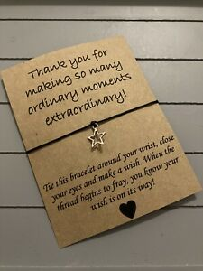 ⭐️Extraordinary Thank You Quote Friendship Wish Star Charm bracelet Gift ⭐️