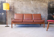 60er Grete Jalk Teak Ledersofa Danish Mid-Century 60s Leather Sofa Vintage
