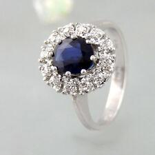Ring mit ca. 0,60ct Brillanten + ca. 0,80ct Saphir in 585/14k Weißgold