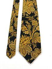 ETRO Milano Men's Silk Necktie Tie Black Gold Floral Paisley