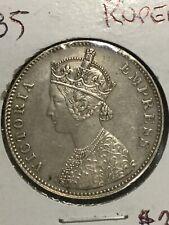 1885 B British India Silver One Rupee Coin