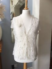 Wallis Ivory Sheer Embroidered Cover-up Top UK 18