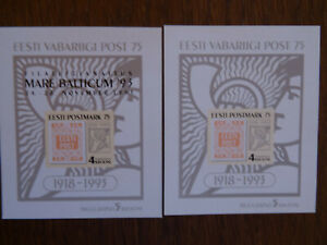 Estonia 1993 Mi# BL 5 & 6, MNH, 75th Anniversary of First Estonian Stamp