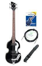 """E-Bass Hollow Body Vintage Set VB-2 """"Black Magic"""" Beatbass Schwarz & Zubehör"""