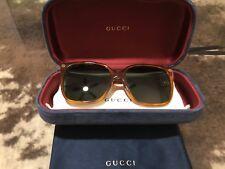 NEW GUCCI SUNGLASSES GG 0022S 002 HAVANA/GREEN AUTHENTIC 0022