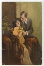 """AK Sage """"ja"""", C. Weber, Liebespaar mit Blumen, 1920"""