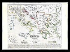 1849 Houze Map - Ancient Greece Italy Bulgaria Croatia Rome Athens 900-1002 Ad