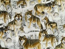 "10"" REMNANT WOLVES  WOLF PACK QUILTING 100% COTTON FABRIC WILDERNESS HOWL HUNTER"