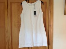 BNWT NEXT LINEN DRESS IN WHITE FULLY LINED DETAIL TO TOP SZ 14 LOVELY FOR SUMMER