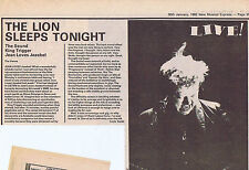 THE SOUND / KING TRIGGER / GENE LOVES JEZEBEL press clipping 1982 (30/01/82)