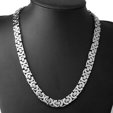 """Silver 316L Stainless Steel Plat Byzantine Necklace Chain 24"""" Men's Jewelry"""