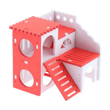 Wooden House Villa Cage Exercise Toys for Hamster Hedgehog Mouse Rat Red