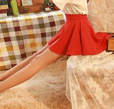 Women Girl Cotton Short Mini Dress Pleated Retro Elastic Waist Lined Skirt