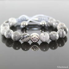 Herren Edelstein Perlen Armband Rutilquarz Beads ,Männer Shamballa verstellbar