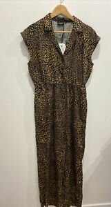 "Jeanswest ""Orla"" animal leopard print ""Tencel"" fabric Jumpsuit romper 12 NWT"