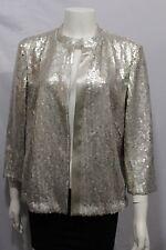 New Akris Women Silver Champagne Cocktail Cardigan Jacket Sequins Blazer Size 10