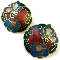VINTAGE EARRINGS CLOISONNE ENAMEL FLOWER BUTTERFLY PIERCED EARS 80s 90s JEWELRY