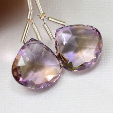 17mm Gem Ametrine Calibrated Faceted Heart Briolette Beads PAIR