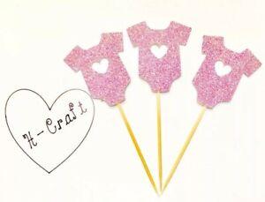 12 x pink glitter cupcake topper / it's a girl Baby shower / Babygrow