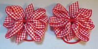 "2 RED AND WHITE GINGHAM 3"" BOWS GIRLS SCHOOL UNIFORM BERISFORDS HAIR BOBBLES"