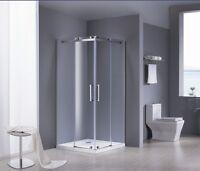 Duschkabine Dusche Duschabtrennung Eckeinstieg Eckdusche Schiebetür Glas 90x90