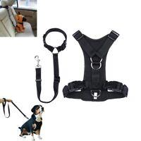No Pull Mesh Nylon Dog Harness Seat Belt Vest Pet Walk Collar 2 In 1 Adjustable