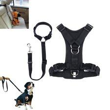 2 In 1 No Pull Mesh Nylon Dogs Harness Seat Belt Vest Pet Walk Collar Adjustable