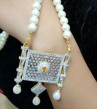 Mala Pearl Necklace Indian Beads Bollywood Jewelry Fashion White Gold Tone Lady