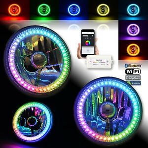 "5-3/4"" Bluetooth RGB SMD Color Chase Chasing LED Halo Angel Eye Headlight Pair"