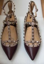 VALENTINO Rockstud Burgundy Nude 39.5 Ballerinas Flats Schuhe