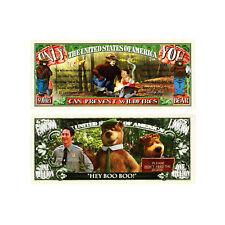 1 set of 2 Smokey Bear and Yogi Bear fantasy paper money