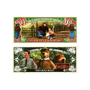 1 set of 2 Smokey Bear and Yogi Bear fantasy paper money