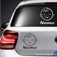 Baby Kinder Motive mit Wunschname Autoaufkleber Sticker Auto Namen Aufkleber M3